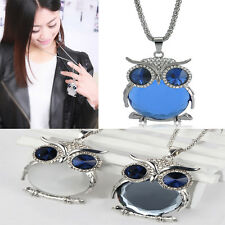 Lady Women Vintage Ocean Blue Crystal Owl Pendant Necklace Best Gift For XMAS