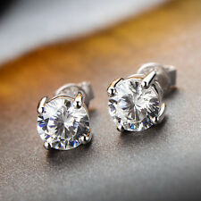 Women Round Cut Solitaire Simulated Lab Simulated Diamond Silver Stud Earring