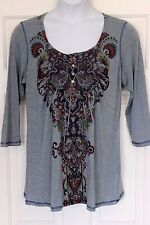 ONE WORLD Women's Blue Floral Print 3/4-Sleeve Knit Top Tunic Size XL