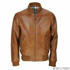 XPOSED Mens Tan Soft Real Leather Smart Casual Vintage Bomber Biker Style Jacket