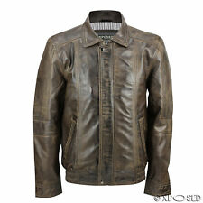 Mens Smart Casual Real Leather Washed Brown Vintage Bomber Jacket Size S to 6XL