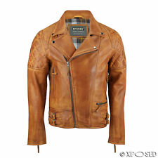 XPOSED New Mens Real Leather Biker Style Jacket Vintage Washed Tan Smart Casual
