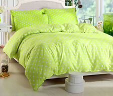 Green Dots Bed Pillowcase Quilt Duvet Cover Set Single Queen King Super Sizes