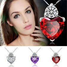 Women Heart Crystal Rhinestone Silver Chain Pendant Necklace Jewelry Love Chain