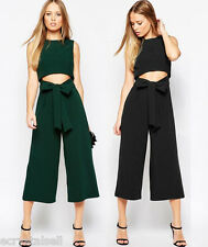 Sexy OL Bodycon Jumpsuit Rompers Playsuit Lady Wide Leg Pants Trousers Palazzo