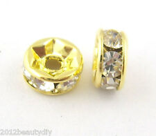 Wholesale Gold Plated Rondelles Rhinestone Spacer Beads 6mm