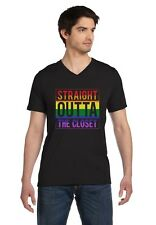 Straight Outta The Closet Gay & Lesbian Pride V-Neck T-Shirt Rainbow Flag