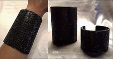 "BLACK PAVE CRYSTAL RHINESTONE CUFF COCKTAIL ACRYLIC 2"" OR 4"" BRACELET NEW"