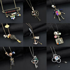 Unique Butterfly/Bird/Robot/Balloon/Anchor Pendant Necklace Long Sweater Chain