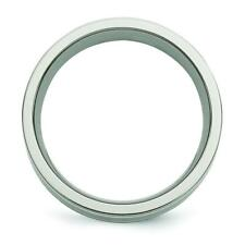 Chisel Titanium Sterling Silver Inlay Flat 8mm Brushed and Polished Band Ring TB