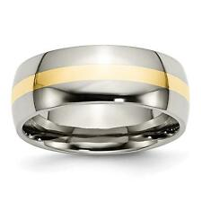 Chisel Titanium 14k Yellow Inlay 8mm Polished Band Ring TB224