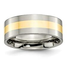 Chisel Titanium 14k Yellow Inlay Flat 8mm Polished Band Ring TB225