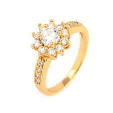 18K Yellow Gold Filled crystal Crystals Womens Fashion Flower Ring,Size 6,7,8