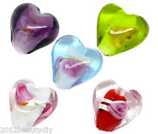 Wholesale Lots Mixed Lampwork Glass Foil Heart Beads 12x12mm