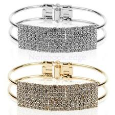 Silver/Gold Plated Rhinestone Bangle Hasp Cuff Bracelet Bridal Jewelry Gift