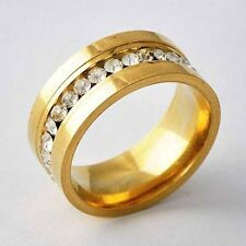 Fashion Jewelry Womens Clear Zircon Yellow Gold Filled Love Ring Size 6-9