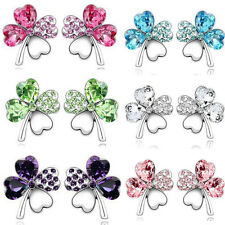 Women/Girls Silver Plated Earrings Crystal Ear Stud Four Leaf Clover Earrings