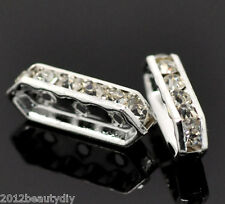 Wholesale Silver Plated Clear Rhinestone 3 Holes Spacer Bars 18x6mm