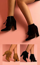 Women's Ladies Fringed Heeled Faux Suede Pointed Toe Boots