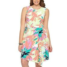 London Times Women's Plus-Size Sleeveless Cascading Fit and Flare Dress