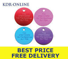 Pet Identity Tags 30mm Circle Personalised Engrave Anodized Aluminium Dog ID Tag