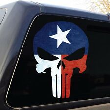 Punisher Skull Texas Flag Military Decal Sticker Graphic - 5 Sizes