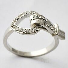 Womens Gift White Gold Filled Ring Clear CZ Heart Love Band Ring Size 6 7 9 10