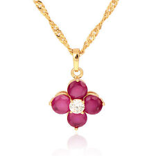 18K Gold Plated Multicolor Zirconia Flower Pendant Fit Long Chain Necklace