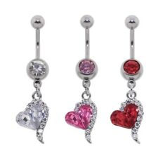 Steel CZ Gem Belly Button Ring Navel Piercing Heart Drop Dangle