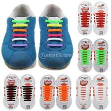 Pair of 18pc KIDS NO TIE Silicone Shoelaces Shoe Laces Sneakers Running Sporting
