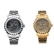 Military Automatic Mechanical Stainless Steel Band Watch Skeleton Pattern Gift