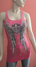 Beauitful Vocal Crystal Front & Back White Fleur De Lis Angel Wings Top S,M,L,XL