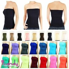 Long Strapless Seamless Bandeau Basic Layering Stretch Ribbed Tube Top ONE SIZE
