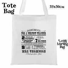 Personalised Teacher Nursery Book Tote Bag Teaching Assistant Thank you SEN Gift