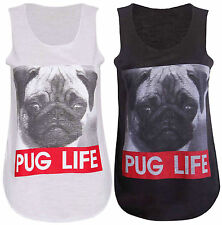 Womens New Dog Pug Life Slogan Print Ladies Sleeveless T-Shirt Vest Top