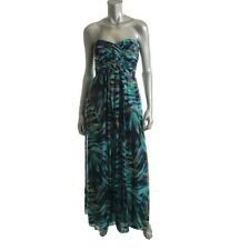 Xscape Multi Print Chiffon Pleated Strapless Formal Prom Dress - NEW