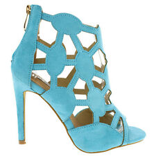Aqua Blue Black Open toe Pump Cut-outs High Heels Party Women's shoes Lena-8