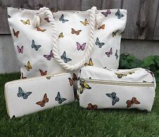 Set of 3 Shopping Tote Beach Canvas Rope Hand Bag Make Up Bag & Purse Butterfly
