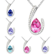 Fashion Women Jewelry Silver Chain Full Crystal Rhinestone Pendant Necklace Gift