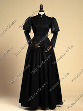 Black Gothic Victorian Edwardian Steampunk Gown Theater Reenactment Clothing 006