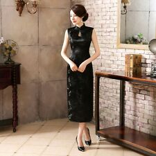 Charm Black Chinese Sleeveless Women's Silk Satin Long Dress Cheong-sam SZ S-3XL