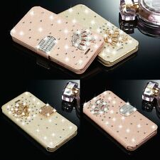 Bling Crown Diamonds Flip Leather Case Cover Wallet For iPhone Samsung Galaxy