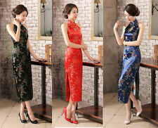 Women's Silk Satin Halter Cheong-sam Sleeveless Backless Qipao Dragon Phoenix