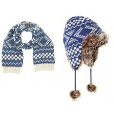 Boys NEW Ex Monsoon Chunky Fairisle Scarf/Trapper Hat/Capped Gloves 3-6 6-10