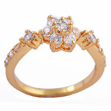 Elegant 9K Gold Filled Clear CZ Flower Band Ring Size 6 7 8 free shipping