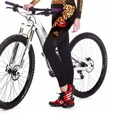 Womens Long Cycling Pant Padded Leopard Cycling Tights Bike Bicycle Coolmax Pant