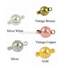 6/8/10mm 10 Set Silver Gold Bronze Copper Ball Round Strong Magnetic Clasps