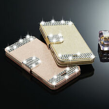 New Luxury Diamond Leather Case Magnetic Flip Card Wallet Cover For Apple iPhone