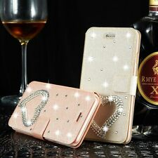 Bling Diamond Heart Leather Case Flip Card Wallet Stand Cover For Apple iPhone