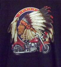 MOTORCYCLE W/ INDIAN HEAD BLACK  SHORT SLEEVE TEE SHIRT SIZES SMALL -2XL